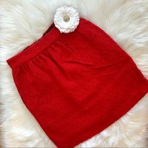 Alice + Olivia Red High Waist Wool Skirt